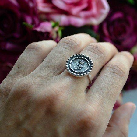 Винтажное серебряное кольцо с розой Totasally 925 silver jewelry