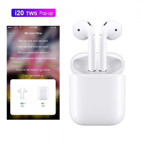 AirPods 2 Новые i20 TWS Pop-up Bluetooth 5,0 наушники 4D супер бас