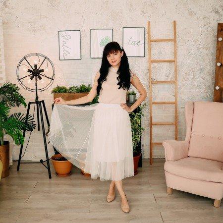 Белая фатиновая юбка с бусинами PADEGAO